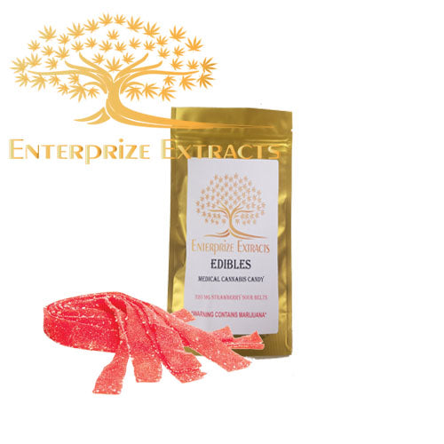 3x/$40 -- 320mg Strawberry Sour Belts by Enterprize Edibles - Cloud Legends 420