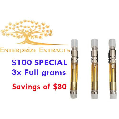 $100 -- 3 Grams of Vape Cartridges by Enterprize Extracts Bundles, Enterprize Extracts - Cloud Legends 420