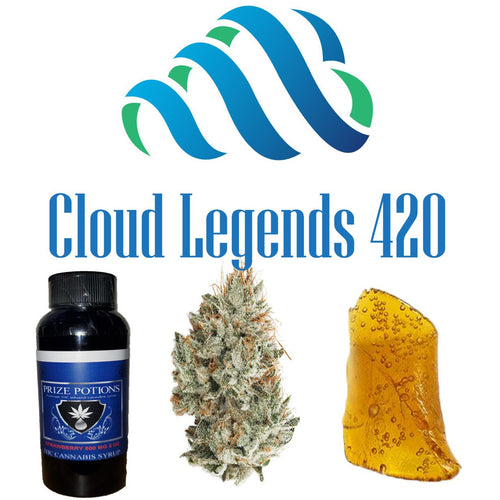 $100 Bundle 1/8 of Flower, 1 gram of Wax or Crumble and 1600mg THC Syrup-- $10 SAVINGS Bundles, Cloud Legends 420 - Cloud Legends 420