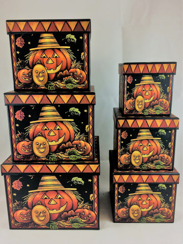 Halloween Pumpkin Family Nesting boxes (6 Pack)