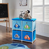 Furniture Kids' 4-bin Storage Unit Blue Blue With Car Theme 4 Bin KIDS'&