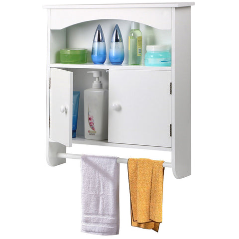 Wall Mount Bathroom Storage Cabinet Towel Shelf Toilet Medicine Organizer White Bathroom&