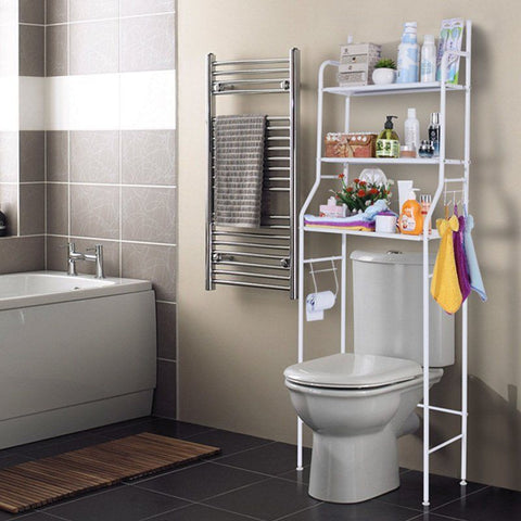 Over The Toilet Storage 3 Shelf Bathroom Space Saver Metal Towel Rack Nickel Bathroom&