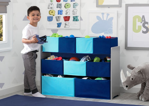 Children Deluxe Multi Bin Toy Organizer with Storage Bins Grey Blue Kids'&
