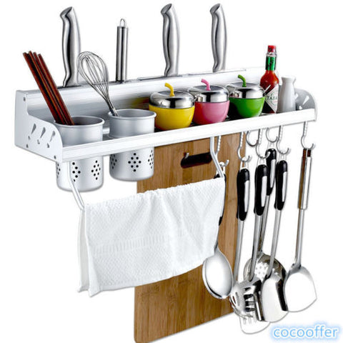 Kitchen Wall Mount Utensil Hanging Storage Rack Holder For Knife Pot Towel Tool Kitchen&