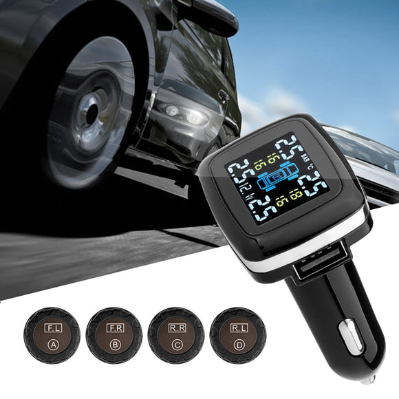 Wireless Car Tire Pressure Alarm Monitor System TPMS LCD Display Car 4 External Sensor Temperature Alarm Cigarette Plug