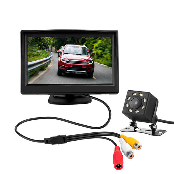 Onever 5 Inches Car Rearview Camera LCD Rear View Display Monitor Kit with Night Vision Wide Angle Car Reverse Backup Parking