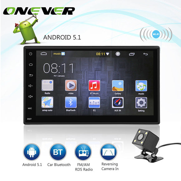 Onever 2 DIN Android 5.1 Autoradio Bluetooth 1080P Car Android GPS Navigation Player Car Stereo MP5 Touch Screen Support 3G WIFI