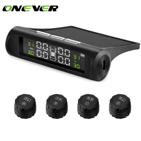 Solar Power TPMS Car Tire Pressure Alarm Monitor System Wireless LCD Display Car 4 External Sensor Temperature Alarm