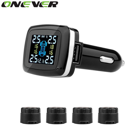 Onever Car TPMS Tire Pressure Monitoring System with Pressure Warning System and USB Charging Port and Voltage Display