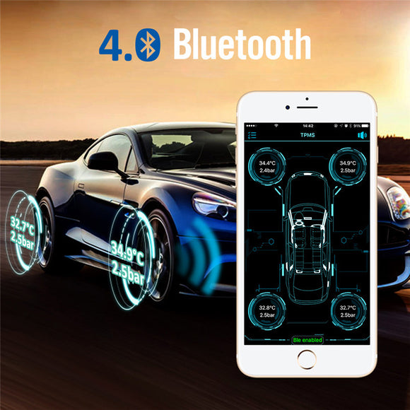 Onever Wireless Bluetooth 4.0 Car Digital Tire Pressure Alarm Monitor System TPMS with 4 External Sensors Support Phone APP