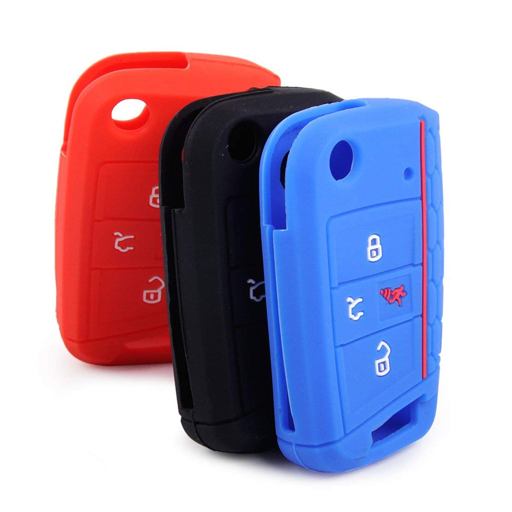 Silicone 4 Button 'Flip' Key Fob Cover Case Skin for VW Volkswagen Golf Skoda Octavia 2016 2017 2018