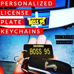 Personalized Engraved Plastic Car License Plate Keychain - USA States Edition [Ships to USA Only]