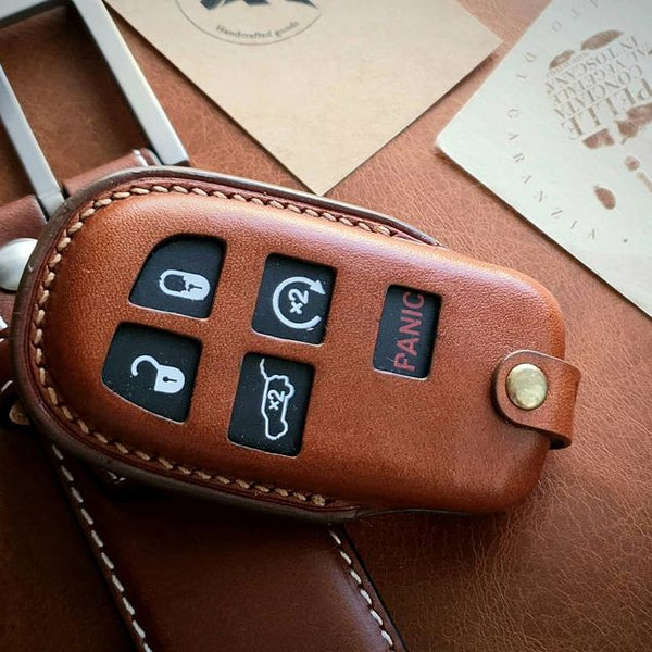 ESSEN - Genuine Leather Handmade Smart Key Fob Case for Chrysler, Dodge, Jeep