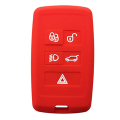 Silicone 5 Button Keyless Entry Fob Cover Remote Case Jacket Skin for Land Rover & Jaguar (2018 and newer)+ [SKU: LRJAGS5C]
