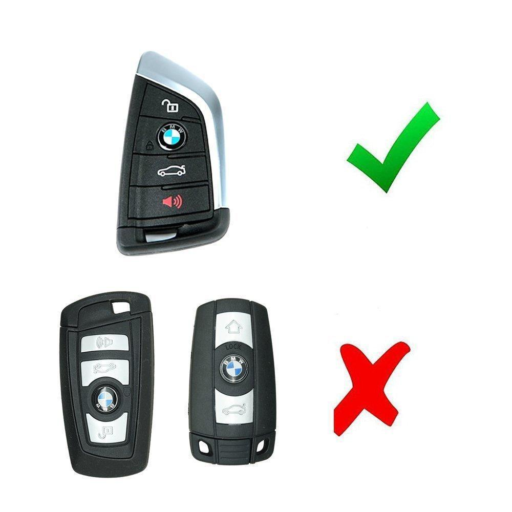 Lcyam Silicone Key Fob Cover Case 4 Buttons Fits for BMW X1 X2 X3 X5 540I 750I BMW 3 Series Black Red