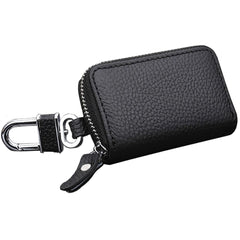 Car Key Faux PU Vegan Leather Pouch with Keychain & Metal Hook