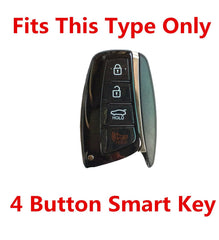 Leather 4 Button Smart Key Fob Remote Cover Case Jacket Glove for Hyundai Santa Fe, Azera, Genesis, Equus