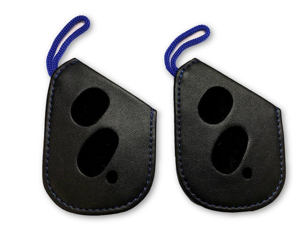 "2x LEXUS ""F Sport"" LEATHER PROTECTIVE SMART KEY FOB REMOTE GLOVE WITH BLUE STITCHING LS RX"