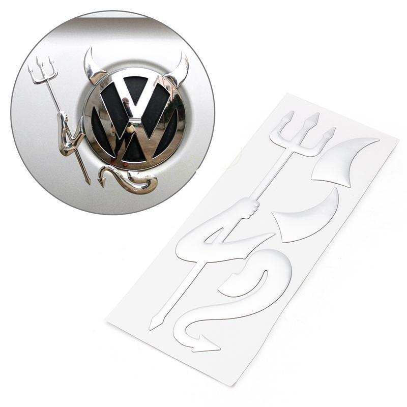 3D Chrome Devil Demon W/ Horn & Fork Decal Sticker for Car Truck