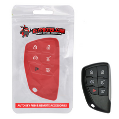 (Pre-Order Sale) Silicone Rubber 6 Button Protective Key Fob Smart Keyless Entry Remote Cover Case Skin Jacket Glove Sleeve Holder for Chevrolet Suburban & Tahoe & GMC Yukon (2021 and newer) [SKU: ]