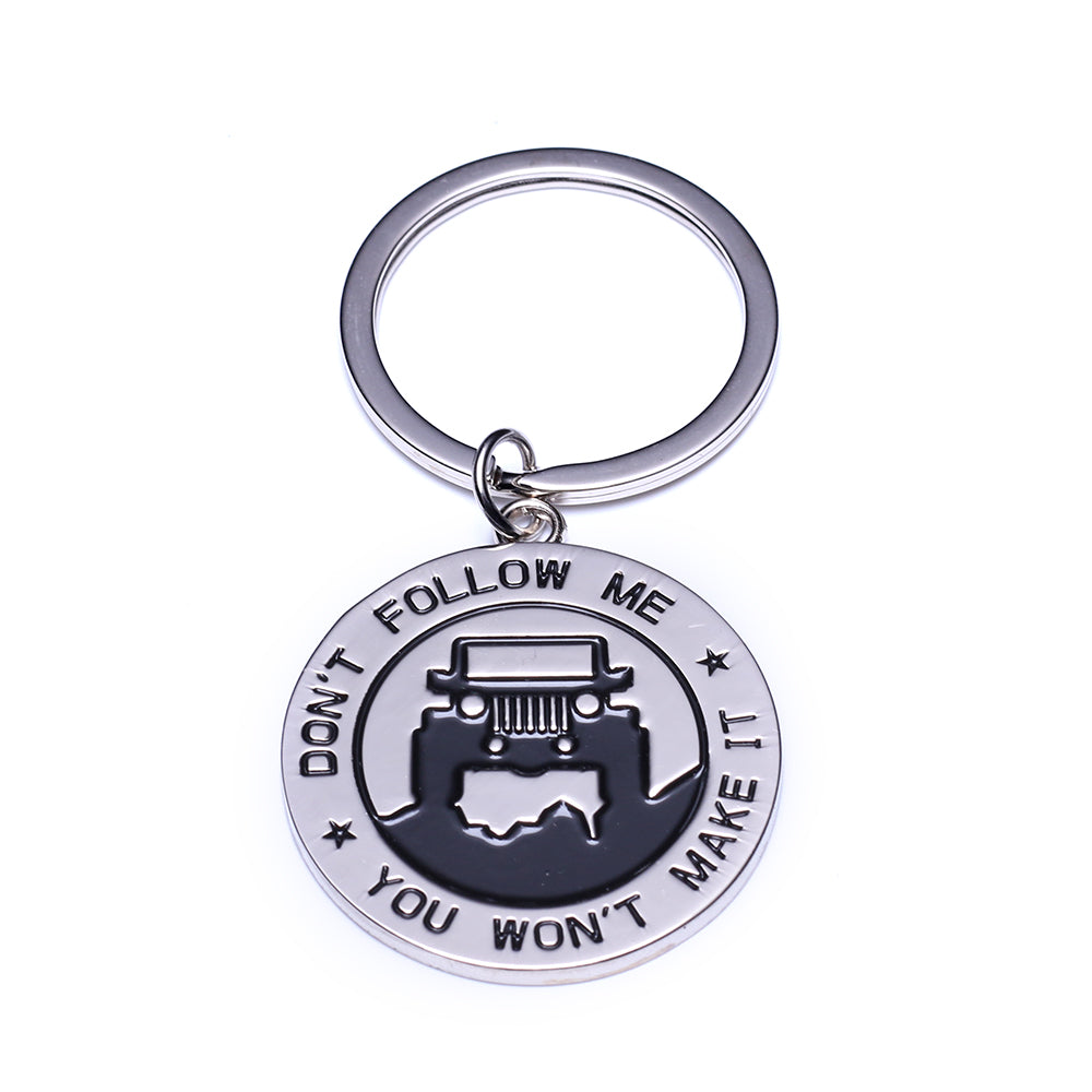 "Jeep Accessory Grill Keychain ""Don't Follow Me You Won't Make It"" Keyring for CJ JK TJ YJ XJ"