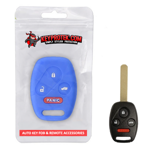 Silicone PROTECTIVE 4 Button Rubber Remote Key Case Skin Cover for Honda Civic Accord [SKU: HONS4C]