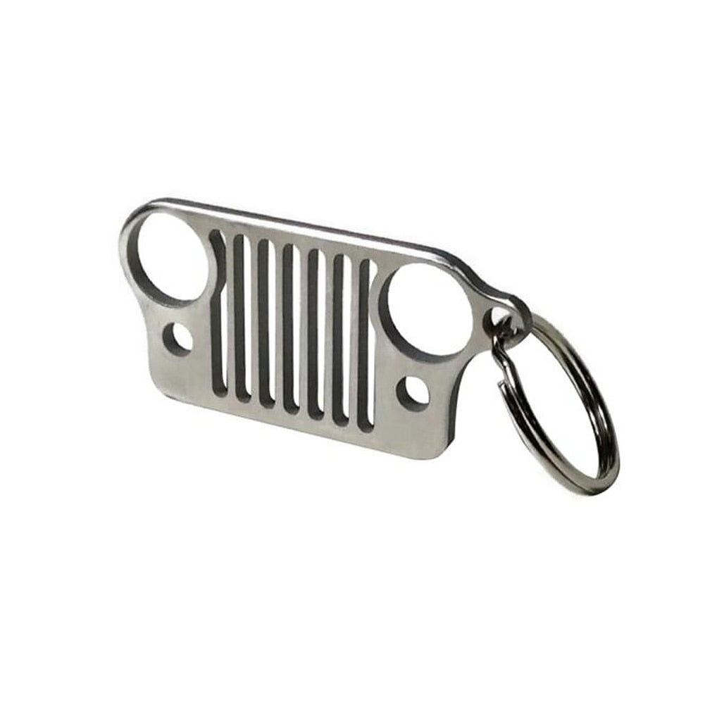 Stainless Steel Grill Key Chain KeyChain For Jeep  (1/3 Pack) (Ships to USA Only)