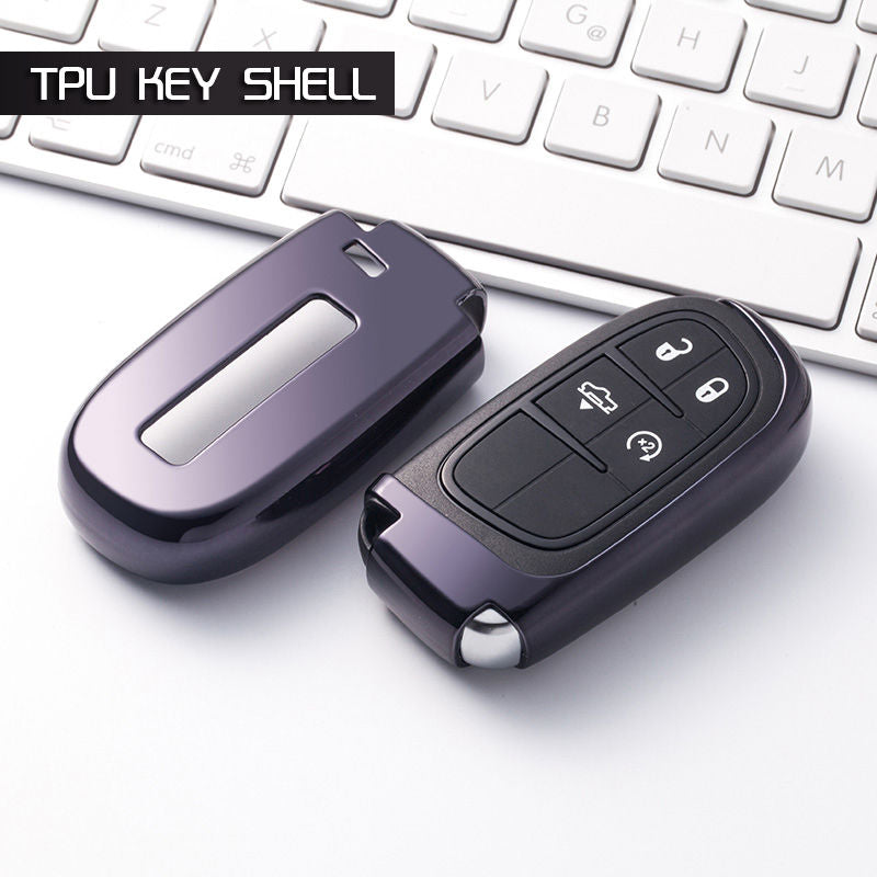 "Universal Chrome CAR 'KEYLESS ENTRY' ""SMART"" KEY FOB REMOTE COVER CASE SKIN SLEEVE JACKET FOR Jeep, Dodge, Chrysler"
