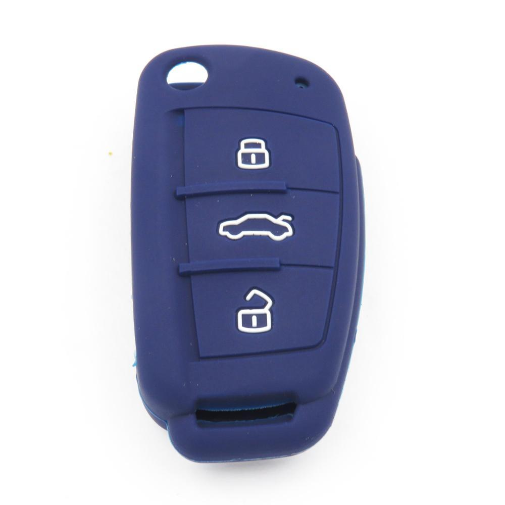 Silicone 3 Button Rubber Protective Car Flip Key Cover Skin Jacket for Audi A3 A4 A6 Q7 TT R8 KC