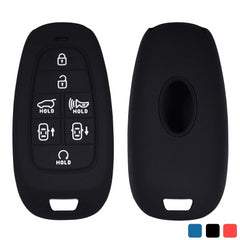 Silicone 7 Button Smart Keyless Entry Key Fob Cover Case Skin Jacket Protector Fit for Hyundai Nexo, Sonata, Sonata etc. [SKU: HYUS7A]