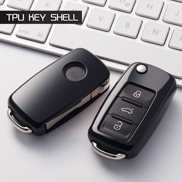 "TPU CAR 'KEYLESS ENTRY' ""SMART"" KEY FOB REMOTE COVER CASE SKIN SLEEVE JACKET FOR VW VOLKSWAGEN SKODA Tiguan Beetle EOS Passat"