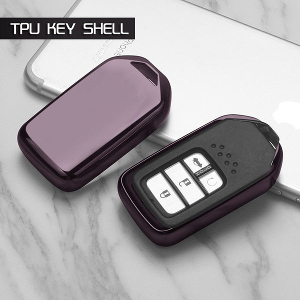 "Chrome TPU CAR 'KEYLESS ENTRY' ""SMART"" KEY FOB REMOTE COVER CASE SKIN SLEEVE JACKET FOR Honda CRV Pilot Accord Civic HR-V"