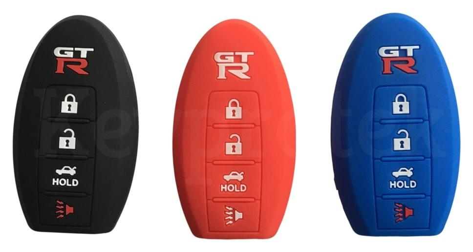 Silicone 4 Button Keyless Entry Key Fob Cover Case Skin Jacket for Nissan GTR GT-R R35 R34 R32