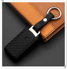 Silicone Carbon Fiber Pattern Rubber 3/4 Button Protective Key Fob Remote Transmitter Case Cover Jacket Skin for Mitsubishi