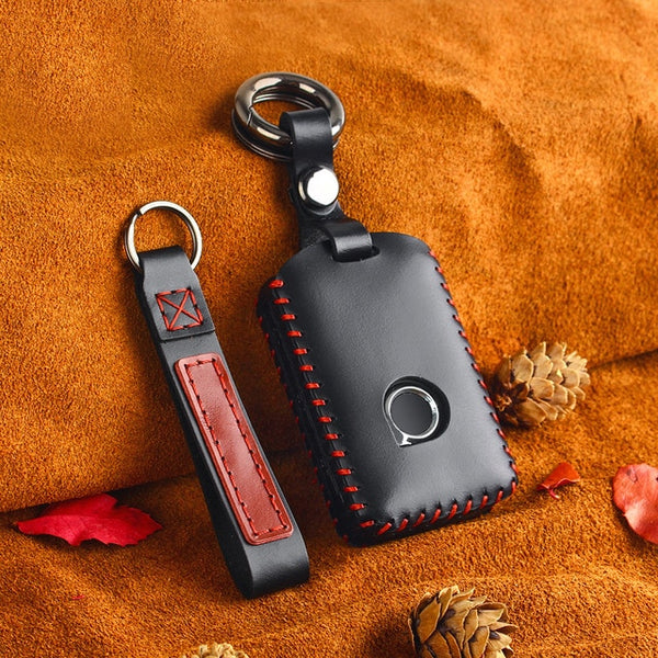 Premium Leather Protective Smart Car Key Fob Cover Case with Keychain For Volvo XC40 XC60 S90 XC90 V90 (2017 - 2020)