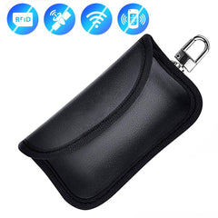 Universal Car Key Fob Remote RFID Signal Blocker, Anti-theft Leather Pouch with Keychain Metal Hook