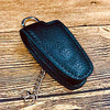 Keyprotek Leather Smart Key Fob Remote pouch Case Holder Pocket for MERCEDES BENZ (Black/Red)