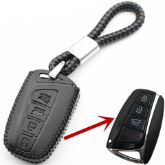 Leather 4 Button Smart Keyless Key Fob Remote Cover Case Jacket Glove  Holderfor Hyundai Santa Fe, Azera, Genesis, Equus