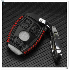 Leather 3 Button Smart Keyless Entry Key Fob Remote Cover Case For Mercedes Benz with Tool Less Key Chain