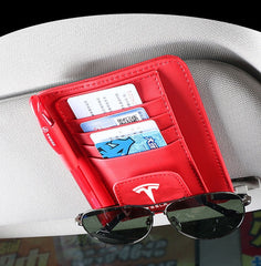 Car Leather Multifunction Sunshade  Organizer Storage for Sun Visor, Glasses, Credit Card, Ticket Clip For Tesla Model 3 S X