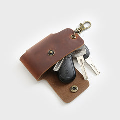 Universal Leather Car Key Wallet Holder  Bag Case Organizer Vintage Minimalist Style with Keychain (Black / Navy / Brown)