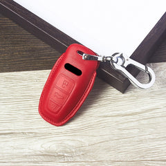 Leather Protective Smart Key Fob Case Case Cover Holder with Keychain For AUDI A8 Q8 A6 A7 (2019 and newer)