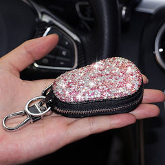 Universal Diamond Bling Rhinestone Car PU Leather Key Holder Pouch Storage Case Luxury Crystal Keychains Key Cover Bag Wallet