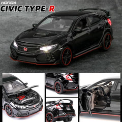 Civic Type-R Diecast Car 1:32 HONDA CIVIC TYPE-R Die Case Toy Car w/ Light