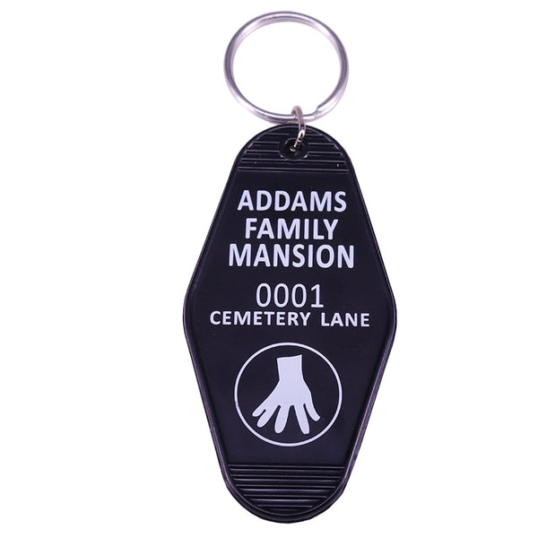 Addam's Family Mansion Cemetery Lane Vintage Old School Inspired Hotel Motel Style Plastic Keychain Key Chain Key Tag
