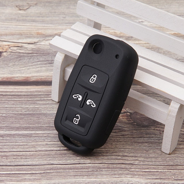 "Silicone 4 Button ""Flip/Switchblade Key"" Fob Cover Remote Case for VW Volkswagen Skoda"