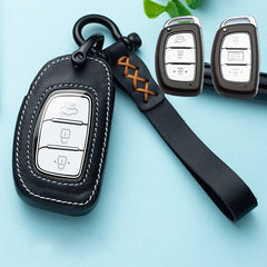 Universal Leather Protective 3 & 4 Button Car Smart Key Fob Cover Case Holder For Hyundai Elantra Tucson I40 Ioniq