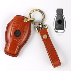 Premium Handstitched Leather 3 Button Smart Key Keyless Case Cover for Mercedes Benz C CL E S SL SLK M Class