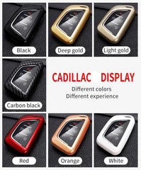 Hard Shell Protective 360 Plastic Carbon Fiber Pattern Design Key Fob Case Cover Holder for Cadillac (2020 and newer)